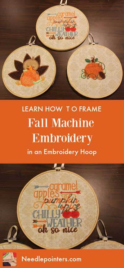 Learn how to Frame Fall Machine Embroidery in an Embroidery Hoop
