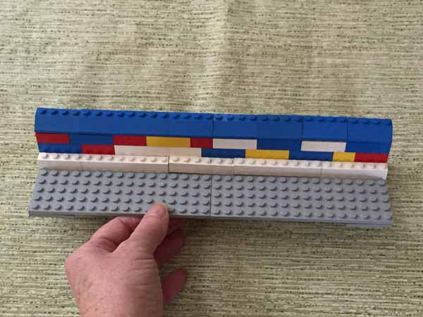 Lego Playing Card Holder - Back Wall with White Risers