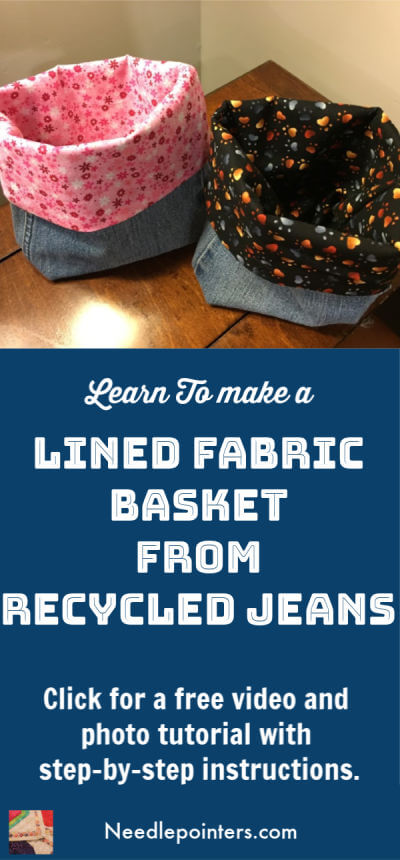 Lined Recycled Jean Fabric Basket
