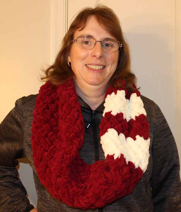 Loop Yarn Criss-Cross Scarf - Finished