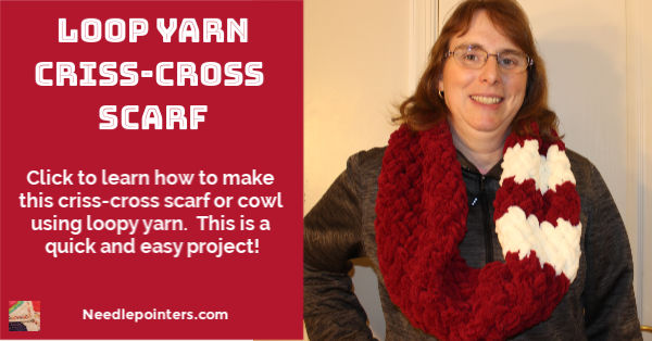 Loop Yarn Criss Cross Scarf Tutorial - fb