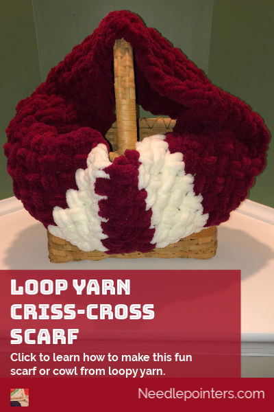 Loop Yarn Criss-Cross Scarf - pin