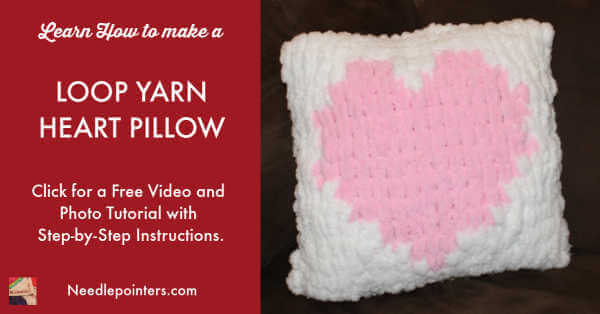 Loop Yarn Heart Pillow