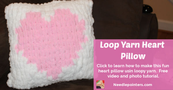 Loop Yarn Heart Pillow DIY