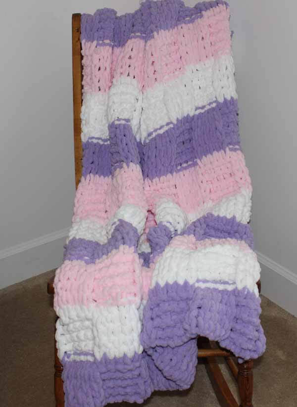 Loop Yarn Textured Blanket Tutorial Finished On Chair