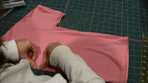 Machine Embroider T-Shirt Tutorial - Crease Shirt along center line