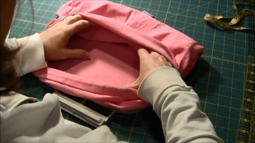 Machine Embroider T-Shirt Tutorial - Move Back of Shirt out of the way
