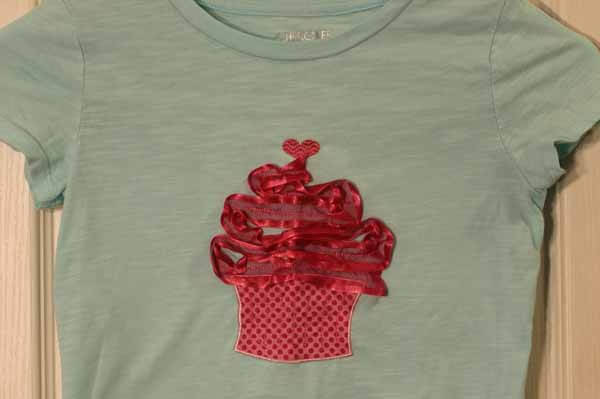Machine Embroidered T-Shirt - 3D Cupcake