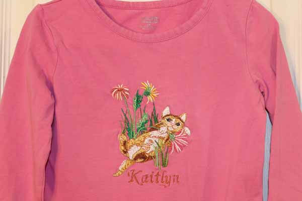Machine Embroidered T-Shirt - Kitten with Name