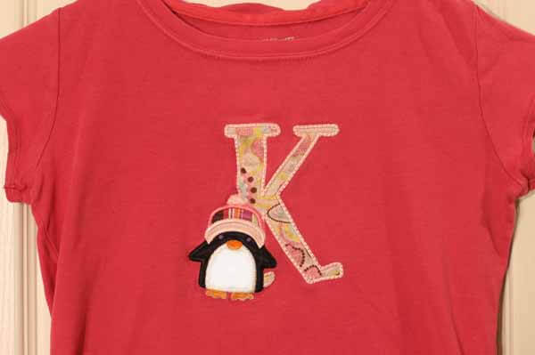 Machine Embroidered T-Shirt - Letter K with Penguin