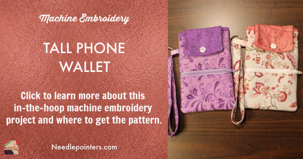 Machine Embroidered Tall Cell Phone Wallet