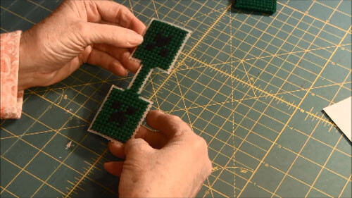 Minecraft Creeper Plastic Canvas Key ring - Stitched