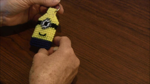 Minion Plastic Canvas Key ring - Completed