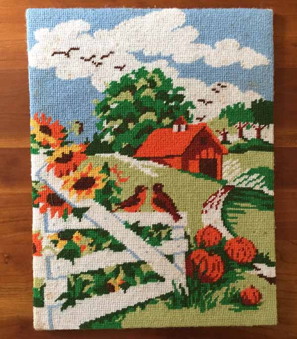 Needlepoint Farm Picture