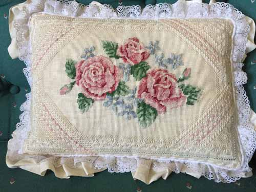 Needlepoint work on a Pillow