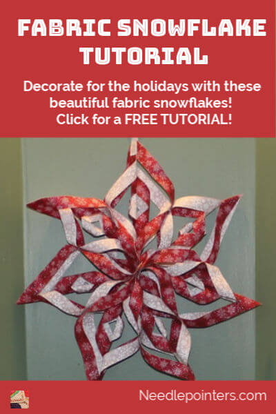 Learn how to make a no sew Fabric Snowflake - pin 2