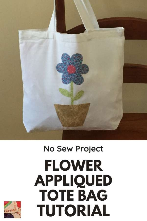 No Sew Flower Appliqued Tote Bag Tutorial - pin