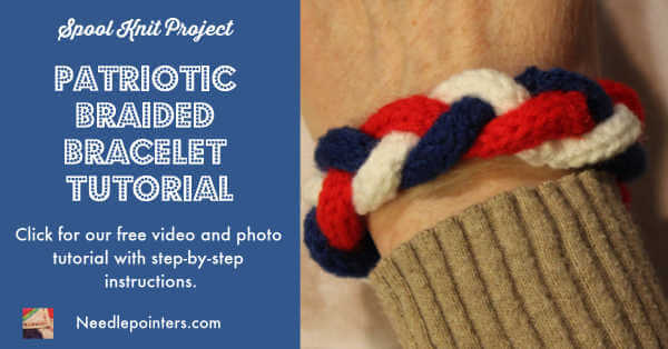 Patriotic Braided Bracelet - Spool Knitted