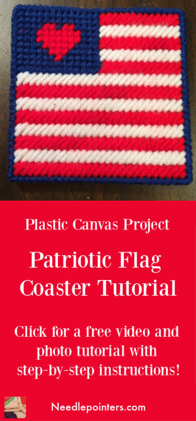Plastic Canvas Patriotic Flag Coaster Tutorial Pin