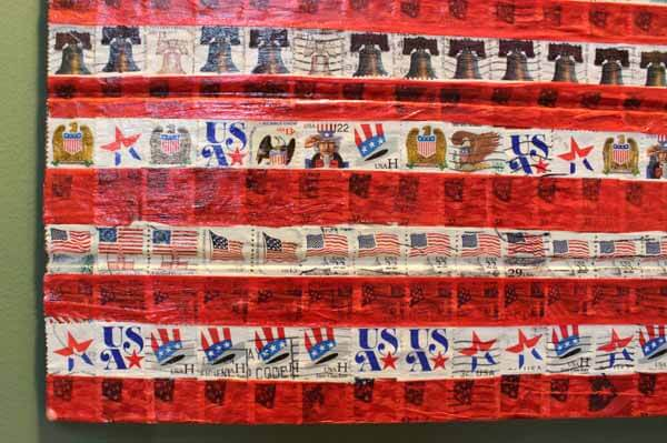 Patriotic Postage Stamp Flag Plaque - Closeup