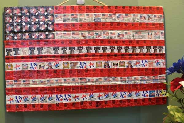 Patriotic Postage Stamp Flag Plaque Completed