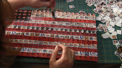 Patriotic Postage Stamp Flag Plaque - Mod Podge Over Tissue Paper