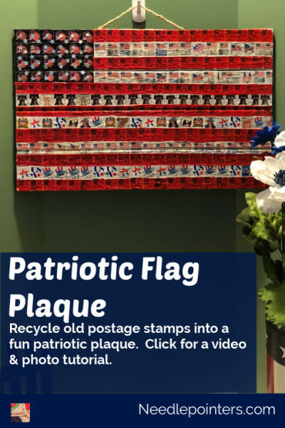 Patriotic Postage Stamp Flag Plaque - Pin