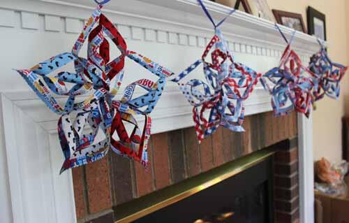 Patriotic Star Garland - Finished on Mantle