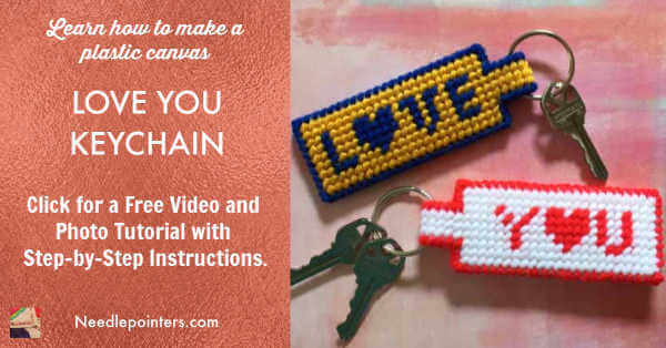 Plastic Canvas Love You Keychain Tutorial