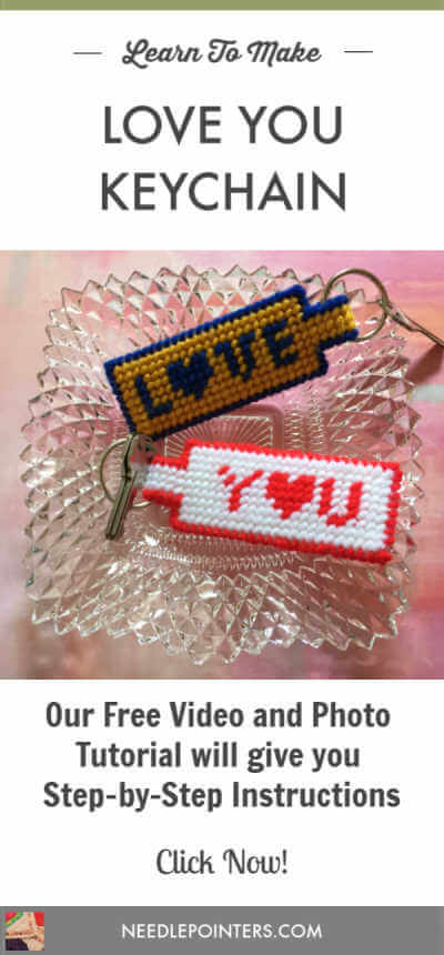 Plastic Canvas Love You Keychain Tutorial - Pin