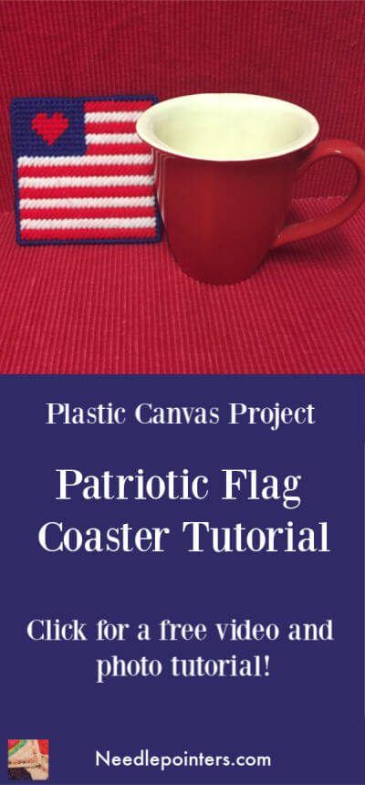 Plastic Canvas Patriotic Flag Coaster Tutorial - Pin with Cup