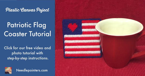 Plastic Canvas Patriotic Flag Coaster Tutorial - Facebook Ad