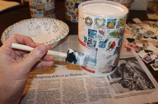 Postage Stamp Decoupage Container - Apply Mod Podge