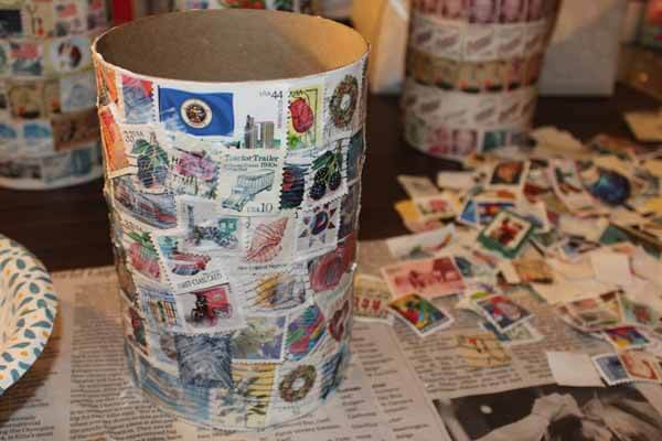 Postage Stamp Decoupage Container - Coat with Mod Podge