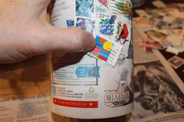 Postage Stamp Decoupage Container - Place Stamps