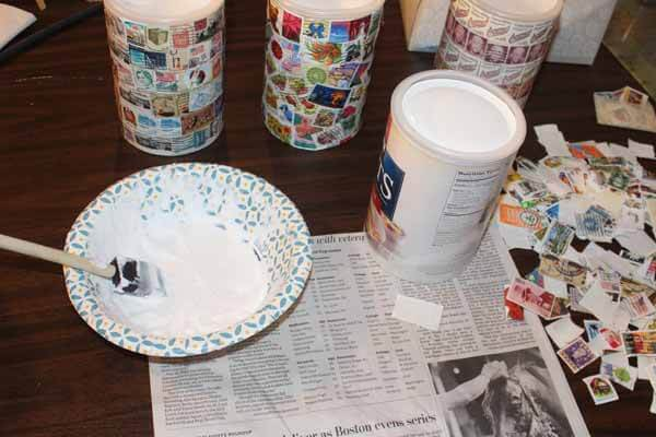 Postage Stamp Decoupage Container - Supplies
