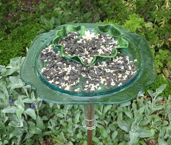 Recycled Dish Bird Feeder - Close Up