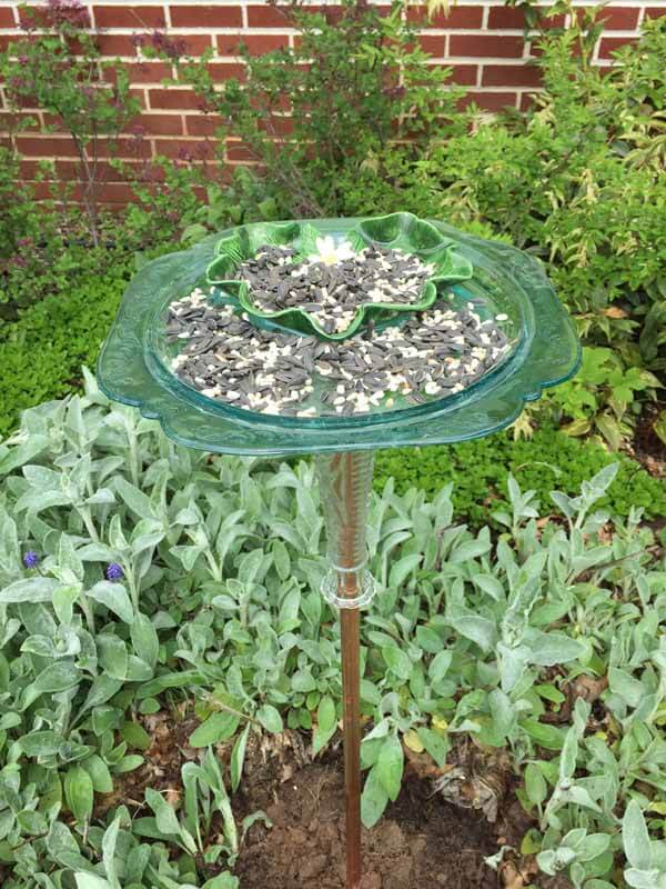 Recycled Dish Bird Feeder - In garden