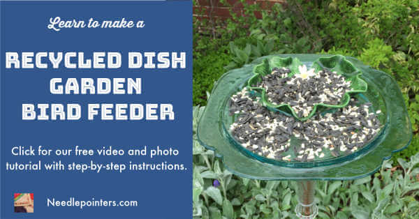 Recycled Dish Bird Feeder Tutorial - Facebook ad