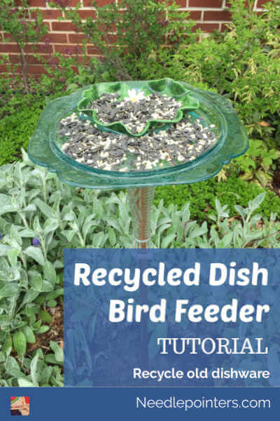 Recycled Dish Bird Feeder Tutorial - Pin