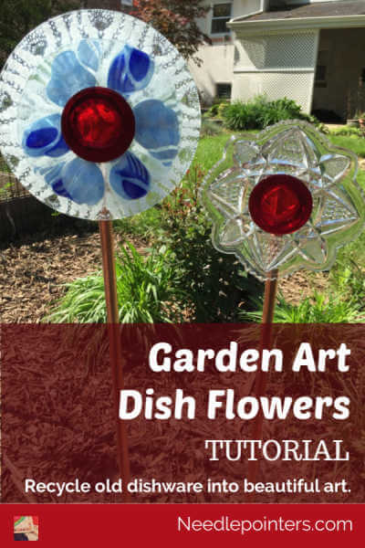 Garden Art Dish Glass Flowers - Pin