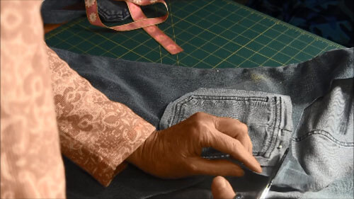 Recycled Jean Pocket Bag Tutorial - Cut Out Back Piece