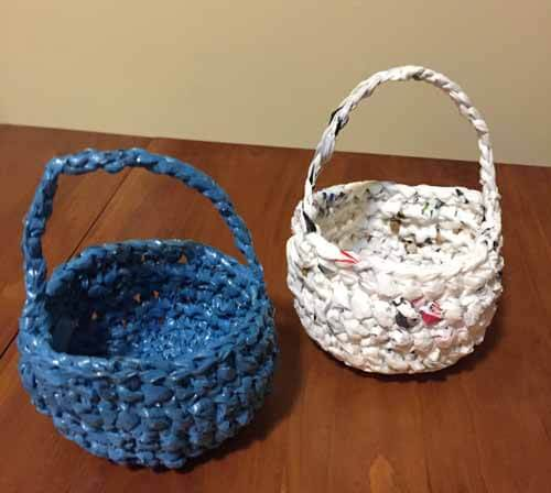 Recycled Plastic Bag Easter Baskets - White Basket