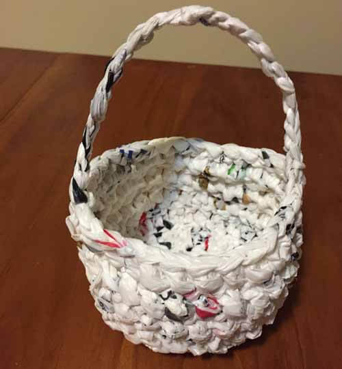 Recycled Plastic Bag Easter Baskets - Crochet Handle