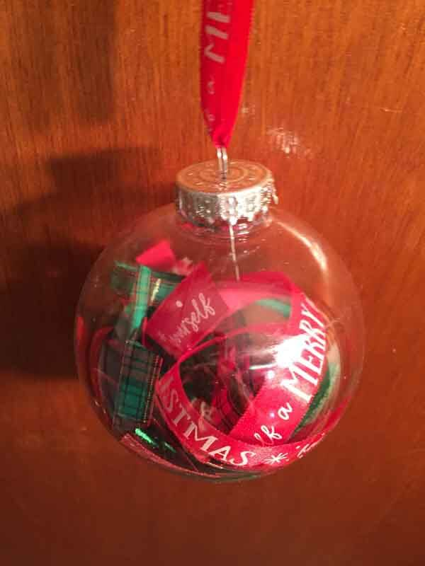 Ribbon Filled Ornament - Finished Ornament