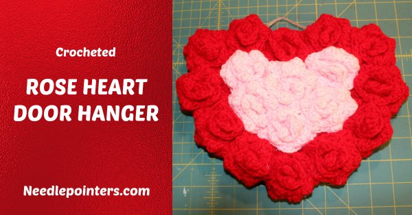 Crocheted Rose Heart Door Hanger
