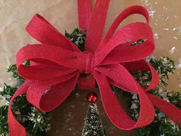 Snow Covered Winter Wreath Tutorial - Close Up Ribbon
