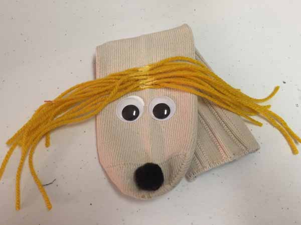 Sock Puppet with Hair