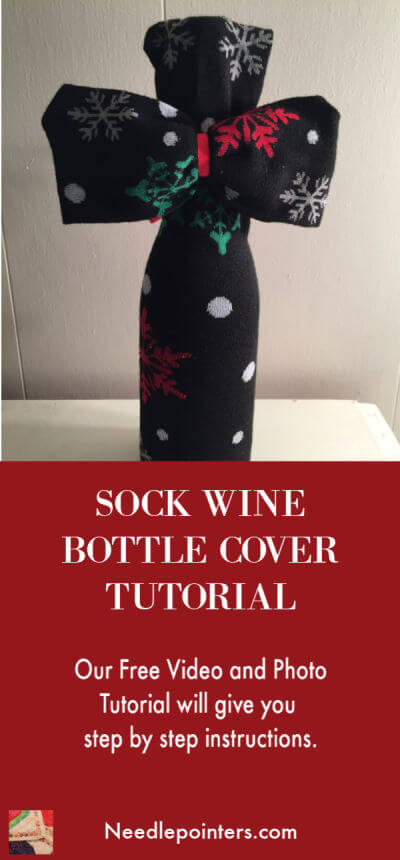 Sock Wine Bottle Cover - pin