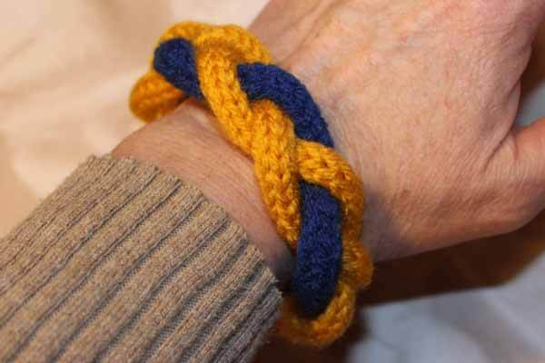 Spool Knitted Braided Bracelet - Blue & Gold